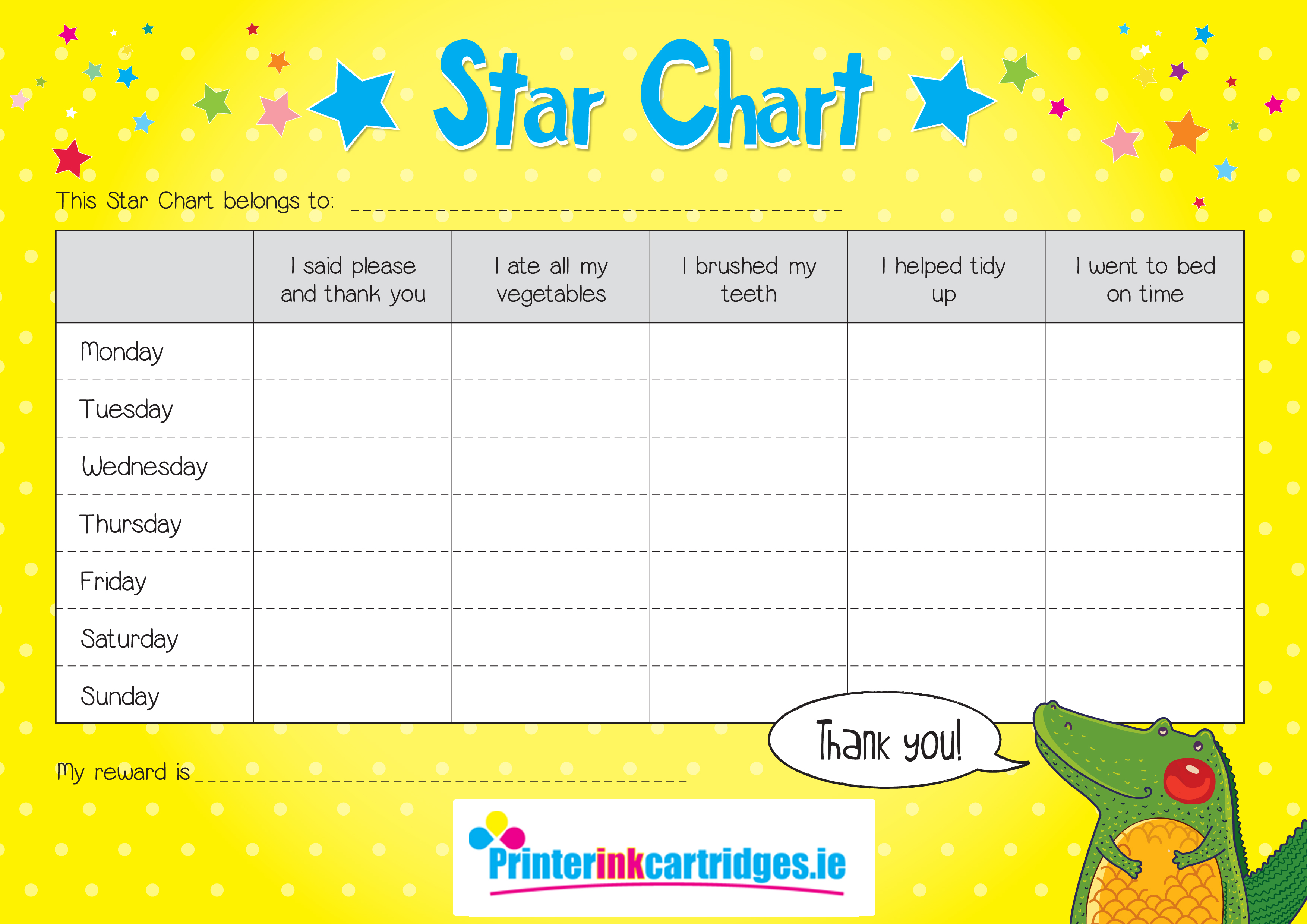 free reward star chart for school holidays