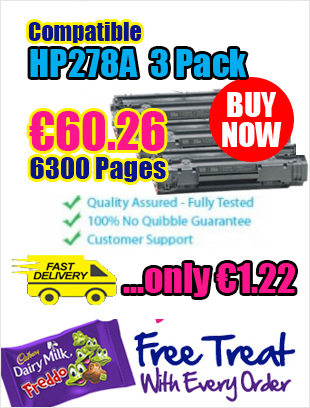 HP CE278A (78A) Laser Toner 3 Pack for €60 is now the Biggest Seller in Ireland with 6300 Pages!