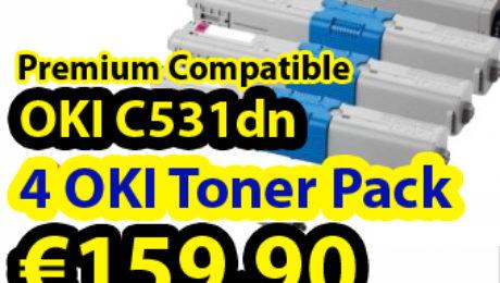Buy 4 pack compatible OKI C531DN laser toner in less than €160, including VAT